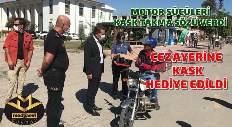 Motor sürücülerinden kask takma sözü alındı,  KASK HEDİYE EDİLDİ